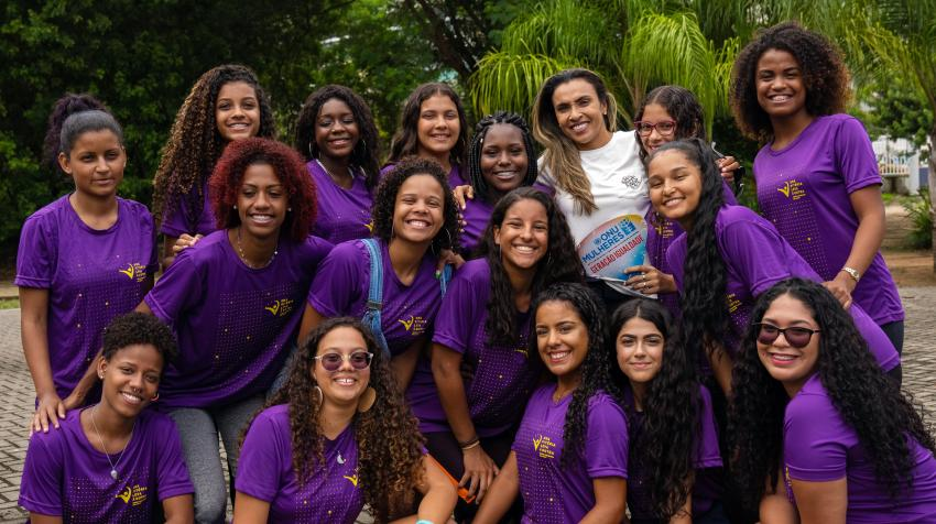 Global soccer (football) star, UN Women Goodwill Ambassador and UN Secretary-General SDG Advocate Marta Vieira da Silva, with participants in the One Win Leads to Another programme in Rio de Janeiro, Brazil. Photo: UN Women/Camille Miranda