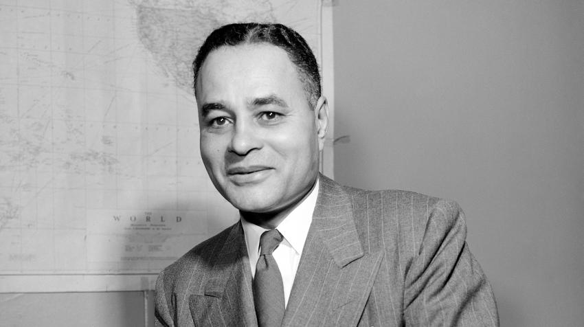 In 1950, Ralph J. Bunche, then Director of the Trusteeship Division of the United Nations Secretariat, was named Nobel Peace Prize Laureate in recognition of his work as Acting United Nations Mediator in Palestine. New York, 1 September 1950. UN Photo