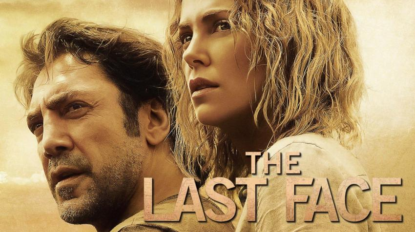 "A woman and a man with concerned eyes, with the movie title, ""The Last Face,"" on the bottom of the poster."