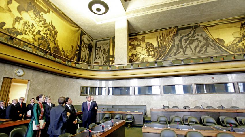 View from floor of Sert's golden murals on second level of the Council Chamber