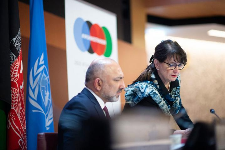 Mohammad Haneef Atmar (left), Minister of Foreign Affairs of Afghanistan confers with Deborah Lyons, Special Representative of the Secretary-General of the United Nations for Afghanistan at the UN in Geneva.