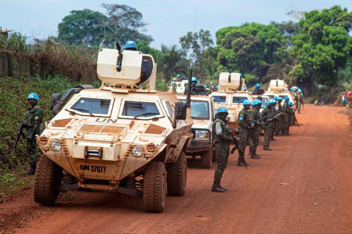 MINUSCA peacekeepers on patrol in Bangassou, Central African Republic.