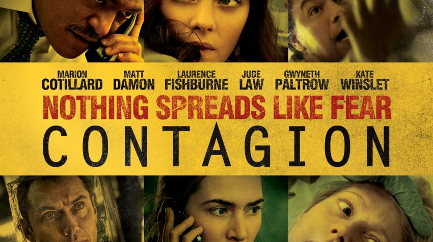 "Yellow movie poster with the title, ""Contagion,"" in the middle and three characters in the movie, each on the upper and the lower part of the poster."