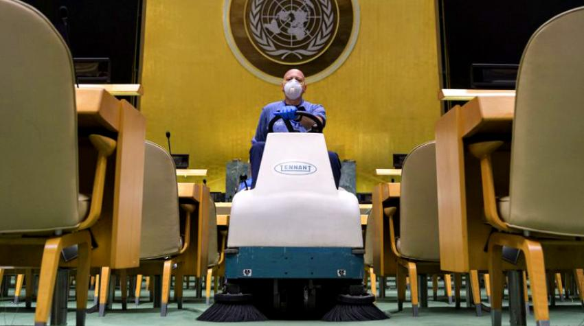 A man on a mopping vehicle in the General Assembly