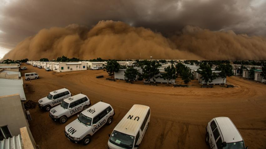 A sand storm, or haboob, over the UNAMID logistics hub in El Fasher, North Darfur. This is a natural weather phenomenon in Darfur which occurs annually between March and July. (8 July 2015, UNAMID/Adrian Dragnea).