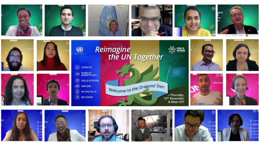 Collage of senior leaders, moderators, and teams during the Dragons' Den virtual event