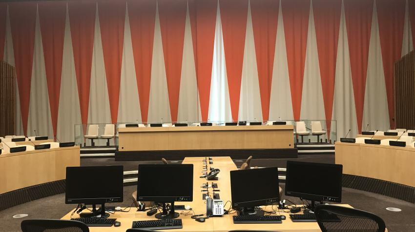 Further zoomed in view of the ECOSOC chamber with a seating area in the middle of the chamber.