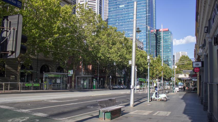 Bourke Street, Melbourne, Australia, empty on a Friday morning during the COVID-19 pandemic. 27 March 2020. Photo by Philip Mallis from Melbourne, CC BY-SA 2.0 via Wikimedia Commons