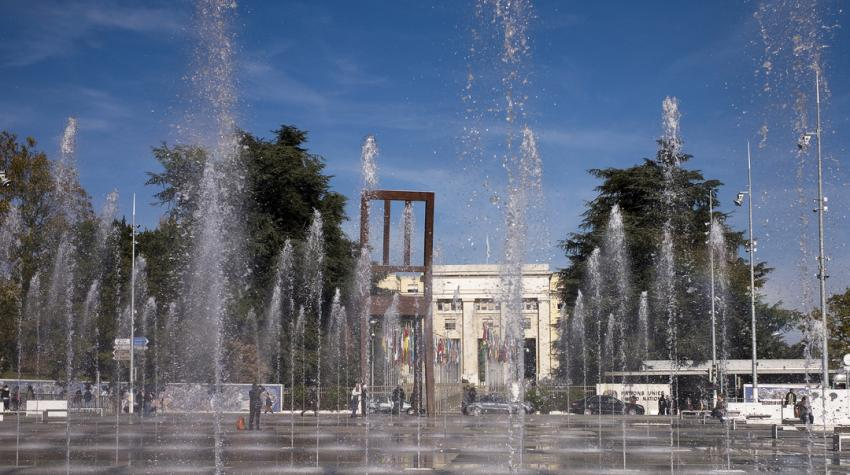 Small fountains in the courtyard before the Palais des Nations