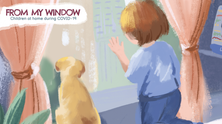 illustration of child and his dog looking out the window