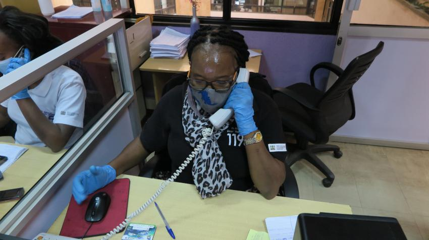 Counselors answer calls to Kenya's gender-based violence hotline 24 hours a day. United Nations photo: Verena Bongartz