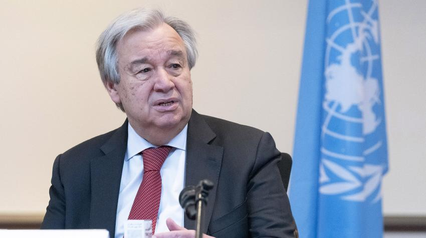 Secretary-General António Guterres speaking at a meeting.