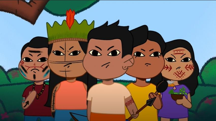 Grand Warriors teaches the importance of use masks. Screen capture: UNICEF