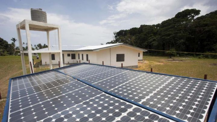 Solar power panels generate energy for a newly renovated local administrative building