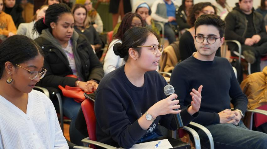 """The """"Real UN"""" briefing at the City College of New York (Photo: UN Photo)"""
