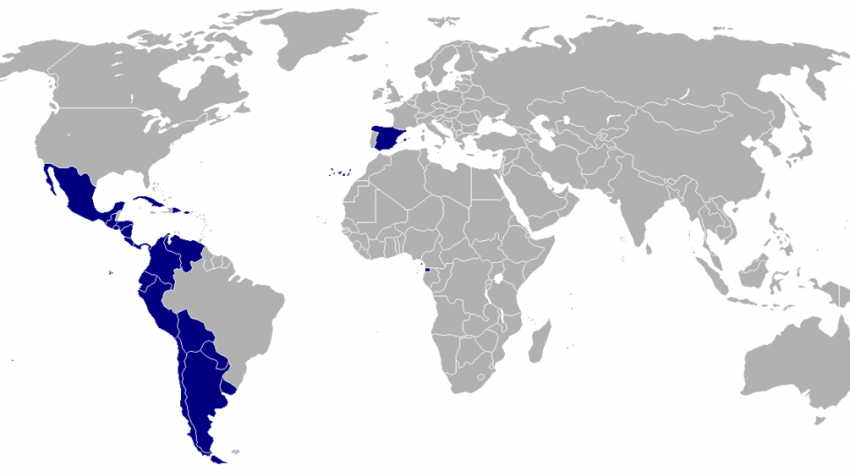 Map of the world showing the countries where Spanish is the official and main language.
