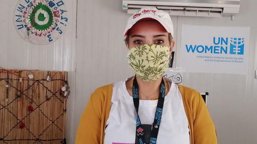 Hadeel Al-Zoubi is a Senior Camp Assistant for UN Women working in Za'atari and Azraq camps for displaced people in Jordan. United Nations photo: UN Women