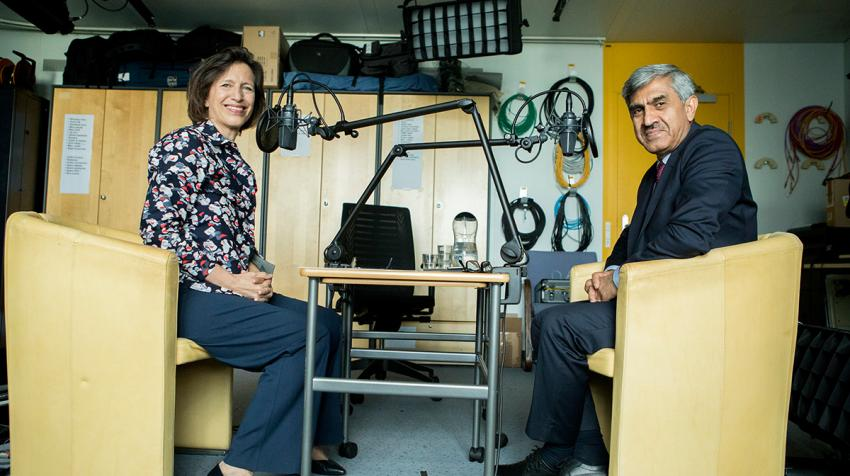 "Sajjad Malik, UNHCR Country Representative in Syria, speaks to UNHCR Chief of Communications Melissa Fleming for the podcast series ""Awake at night."" © UNHCR/Susan Hopper"