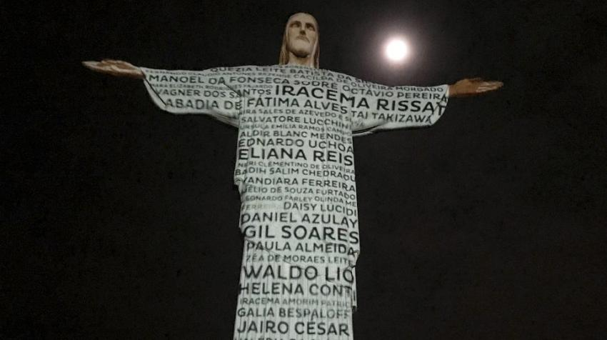 Names of COVID-19 victims illuminate the statue of Christ the Redeemer in Brazil. Photo courtesy Purpose