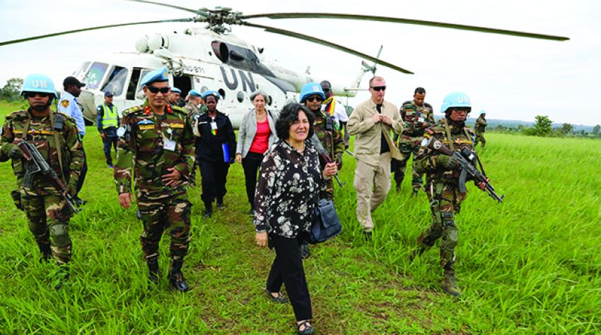 Leila Zerrougui, the Special Representative of the Secretary-General in the Democratic Republic of the Congo, arrives in Fataki, Ituri Province, following deadly attacks on the populace by armed elements. 1 April 2018.© MONUSCO/Michael Ali