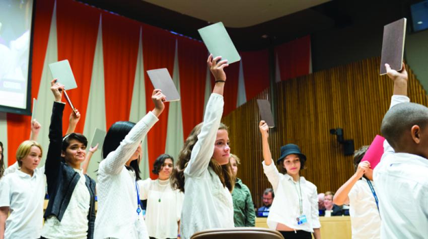 """Youth attendees of a high-level event at United Nations Headquarters on """"Financing the Future: Education 2030"""". 20 September 2017.©UN Photo/ Rick"""