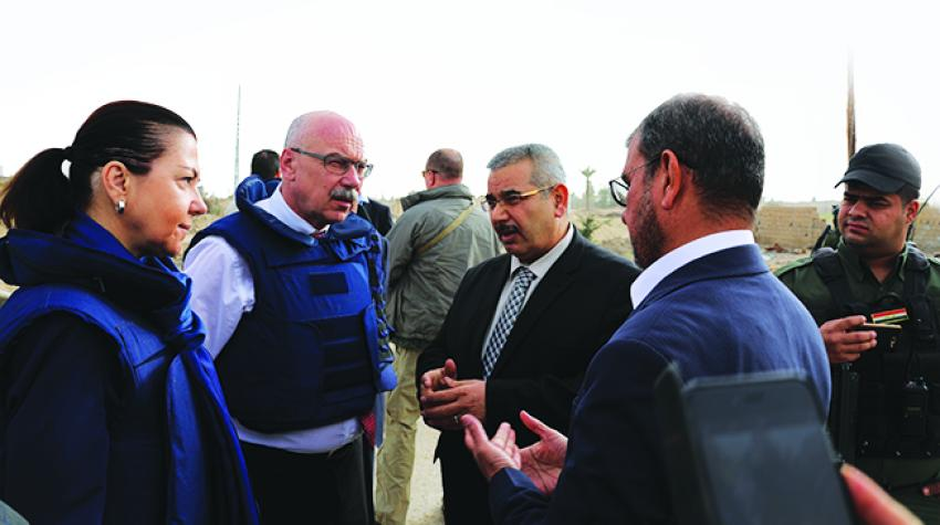 Assistant Secretary-General Coninsx, left, visiting Iraq on 7 March 2018, together with Under-Secretary-General Vladimir Voronkov of the United Nations Counter-Terrorism Office. ©UNAMI