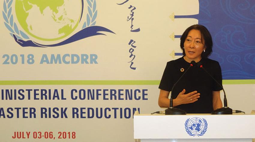 Mami Mizutori, Special Representative of the Secretary-General for Disaster Risk Reduction, speaking to the press at the opening of the Asian Ministerial Conference on Disaster Risk Reduction. Ulaanbaatar, Mongolia. 3-6 July 2018. © UNISDR