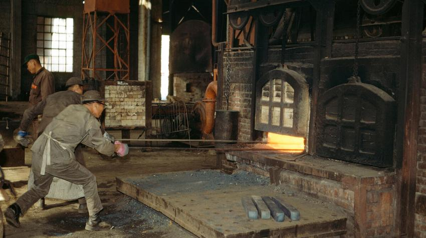 Men working in the forging shop