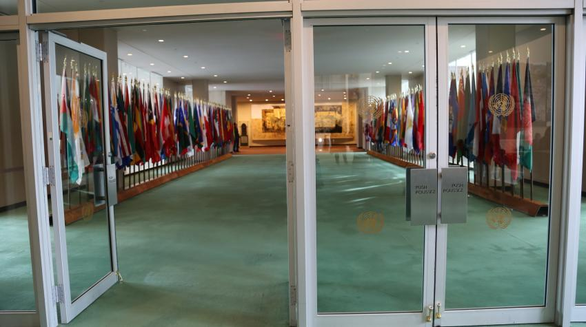 View of green-carpeted Flag Hall from outside of the glass-door entrance