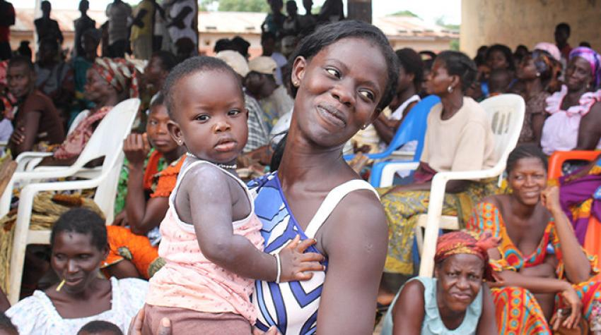 """Patricia, 23, arrived at the fair in Ahua Village, Côte d'Ivoire, knowing very little about contraception. But she was intrigued. """"I do not want to have more children now because I do not have the means to support them,"""" she said. © UNFPA WCARO"""