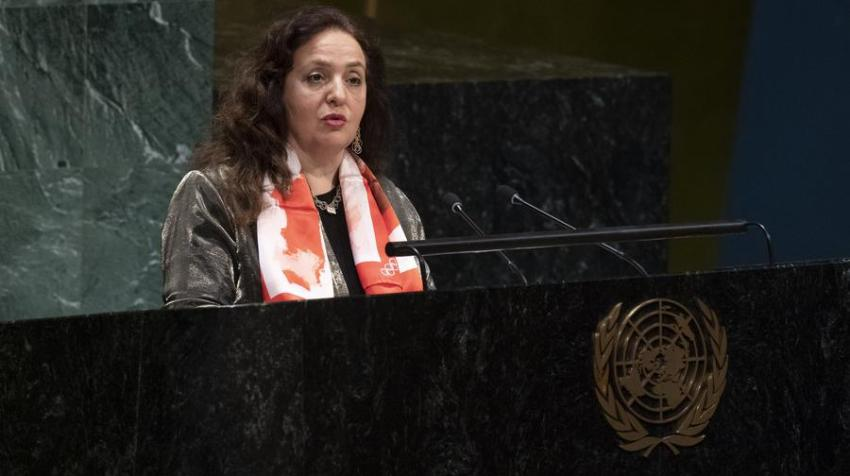 H.E. Isabelle Picco, Permanent Representative of the Mission of Monaco to the United Nations, the day of the adoption of the latest resolution on sport (Olympic Truce), 9 December 2019. Photo courtesy of the Permanent Mission of Monaco.