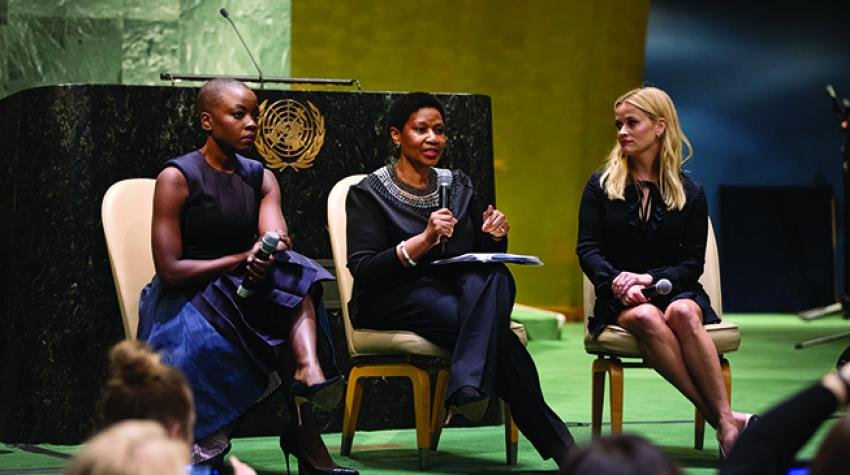 Danai Gurira and Reese Witherspoon in conversation with UN-Women Executive Director Phumzile Mlambo-Ngcuka (centre) at the 2018 International Women's Day commemoration © UN-Women/Ryan Brown