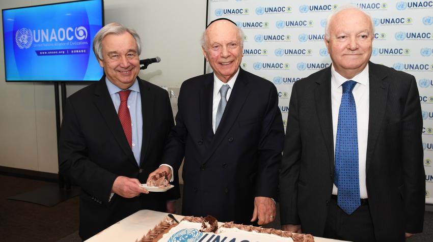 Rabbi Arthur Schneier's 90th Birthday Celebration. From left: United Nations Secretary General António Guterres, Rabbi Schneier and High Representative of the Alliance of Civilizations, Mr. Miguel Moratinos, 12 March 2020. Courtesy of the author.