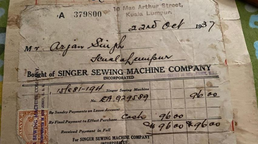 Original receipt from the Singer Sewing Machine Company, Inc., Kuala Lumpur, 1937. Courtesy of Kaur Dhaliwal family.