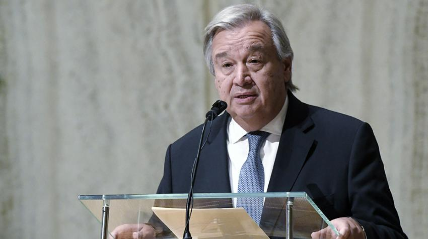 Secretary-General António Guterres speaks at a religious service