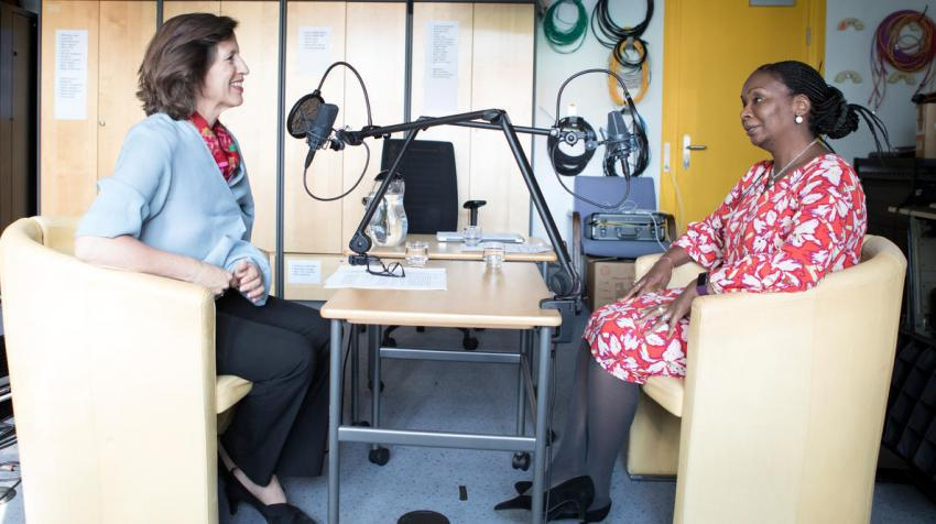 """Fatima Mohammed, UNHCR country Representative in Liberia, speaks to UNHCR Chief of Communications Melissa Fleming for the podcast series """"Awake at night."""" © UNHCR/Susan Hopper"""