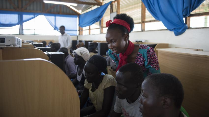 UNHCR, in partnership with Microsoft, has implemented an initiative to provide digital skills to refugees like Grace and members of the host community in Kakuma, Kenya. ©UNHCR/Hannah Maule-Ffinch