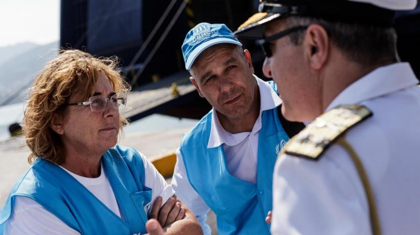 In Greece, Alessandra Morelli served as UNHCR's senior Emergency Coordinator and here she talks with Vice Admiral Giannis Karagiorgopoulos in the port of Mytilene during a visit to assess UNHCR operations on the island of Lesvos. © UNHCR/Achilleas Zavalli