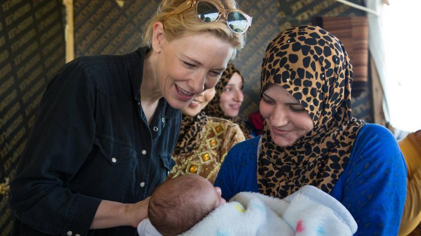 UNHCR Goodwill Ambassador Cate Blanchett meets a Syrian refugee mother and daughter living at an informal settlement in Lebanon in May 2015. ©UNHCR/Jordi Matas