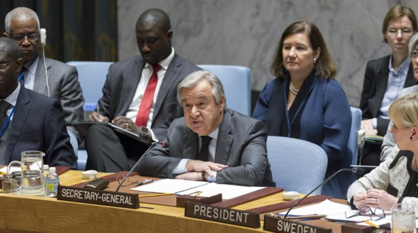 Secretary-General António Guterres addresses the Security Council ministerial-level open debate on conflict prevention and sustaining peace. 10 January 2017,United Nations, New York.©UN Photo/Rick Bajornas