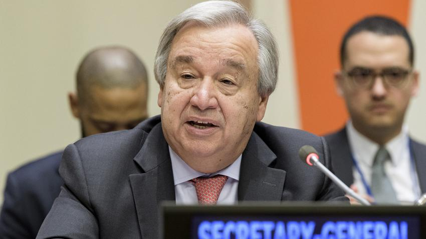 Secretary-General António Guterres speaks at a meeting