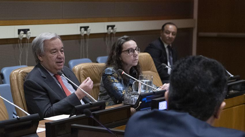Secretary-General António Guterres speaks at a meeting.