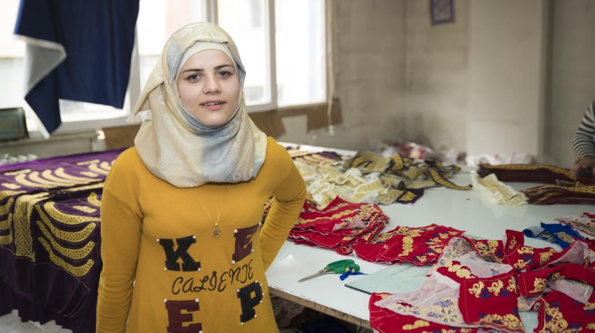Silatech beneficiary Laila Abdel Ghani, a Syrian Refugee in Turkey, received training through Silatech's programme and learned the Turkish language, and was then able to find work in an embroidery factory to support her and her family.