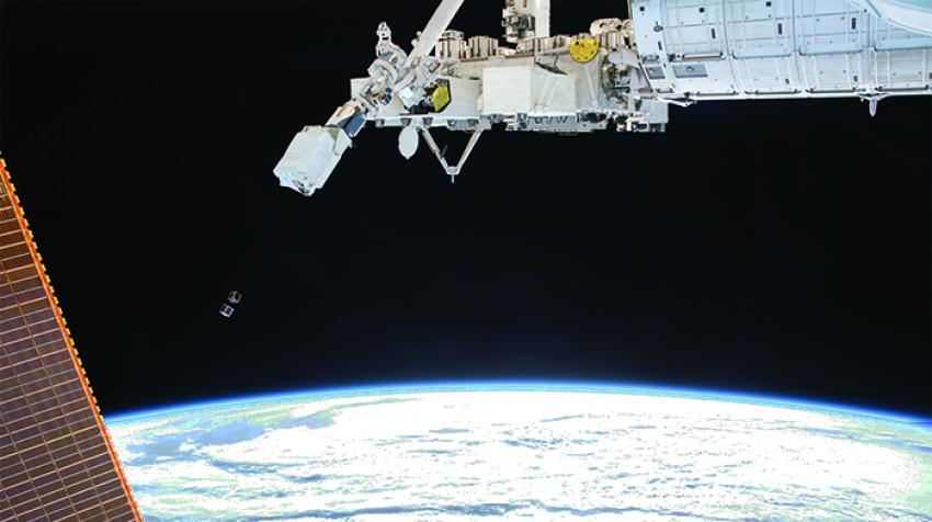 Successful deployment of 1KUNS-PF (Kenyan Satellite, selected as the first round of KiboCUBE) from the ISS Kibo Module, May 2018. ©JAXA
