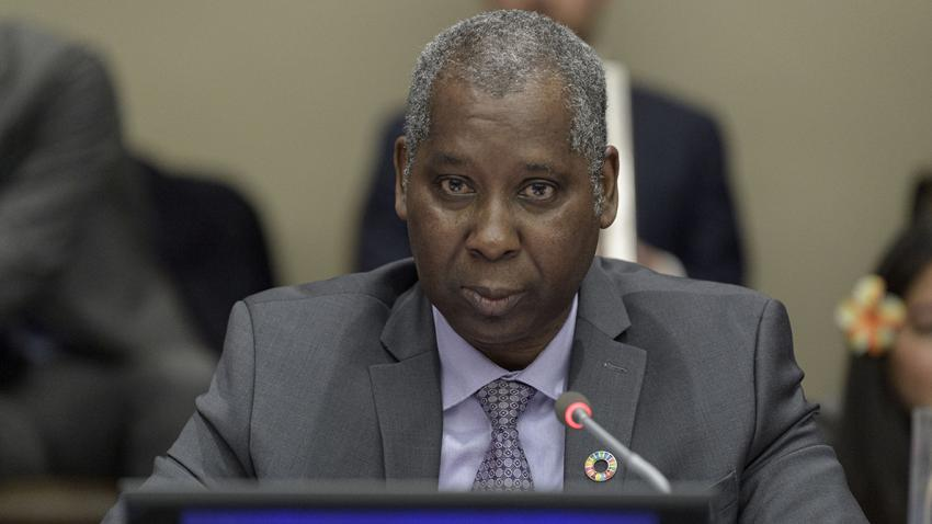Tijjani Muhammad-Bande, President of the seventy-fourth session of the United Nations General Assembly, speaks at a meeting.