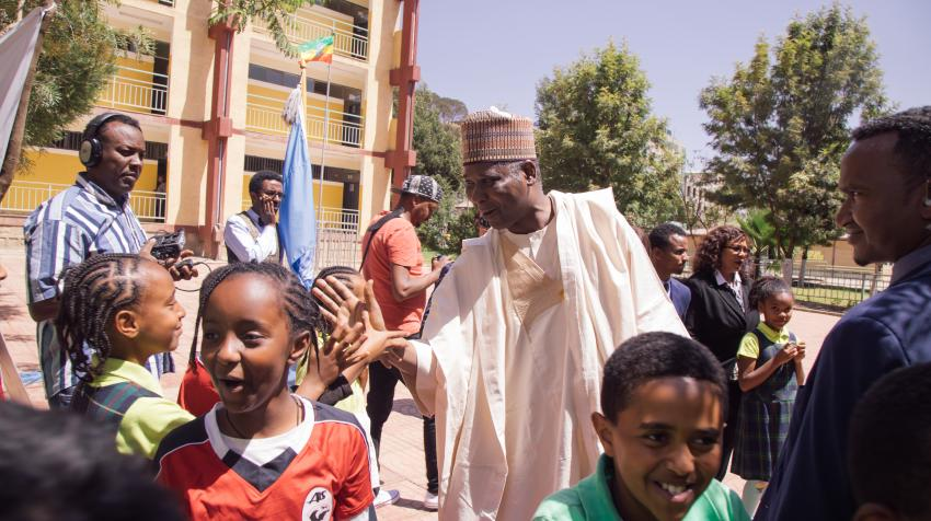 H.E. Mr. Tijjani Muhammad-Bande, President of the 74th session of the United Nations General Assembly, visits a school in Addis Ababa, Ethiopia. 10 February 2020. Geremew Tigabu/UN OPGA