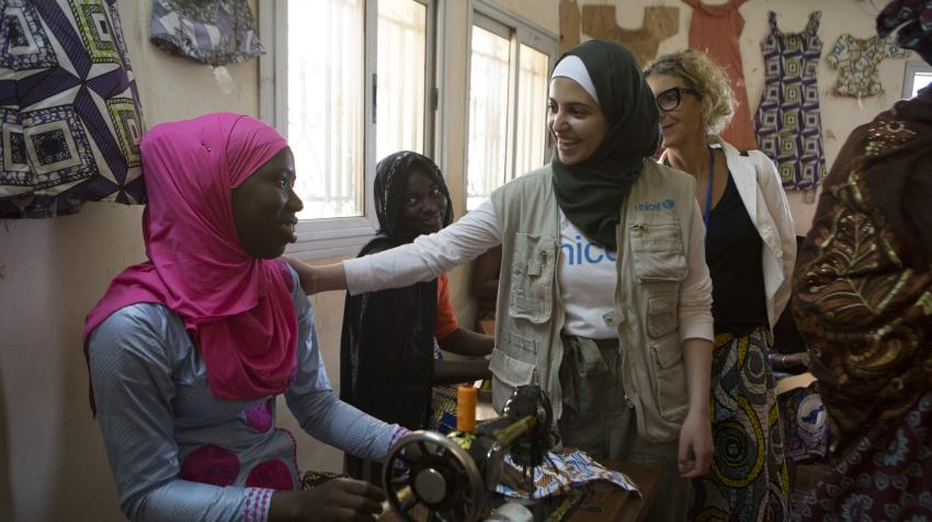 On 21 August 2019, UNICEF Goodwill Ambassador Muzoon Almellehan speaks to a girl attending a center for survivors of sexual and gender-based violence in Bamako, Mali.