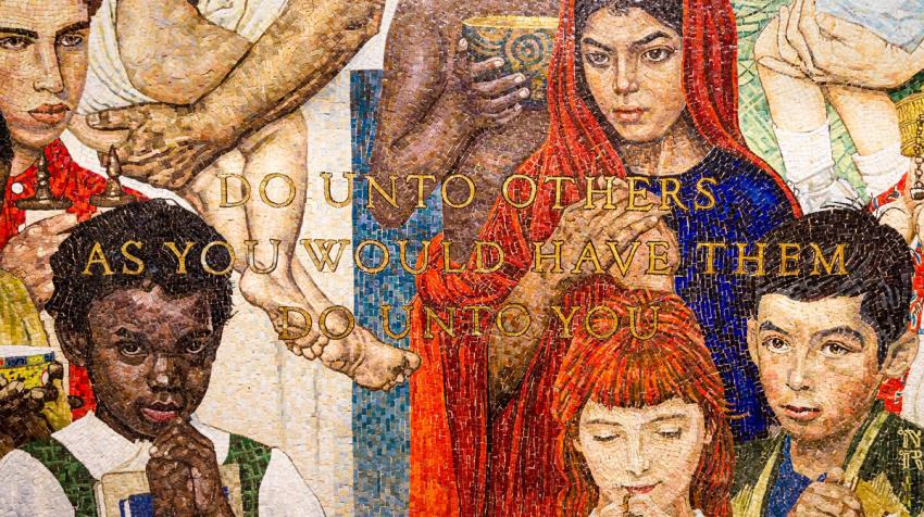 Detail of the mosaic 'The Golden Rule' by Norman Rockwell at UN Headquarters, depicting people of different nationalities (Photo: UN Photo/Rick Bajornas)