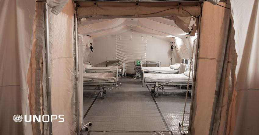 View of an empty makeshift hospital made of tents.