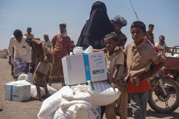 family receiving WFP food aid